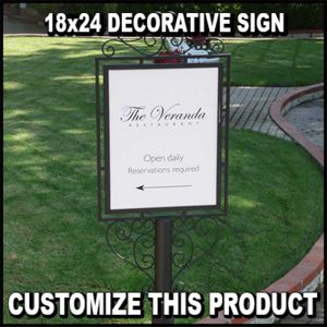 Durable decoritive Metal Sign with Round Base Thumbnail